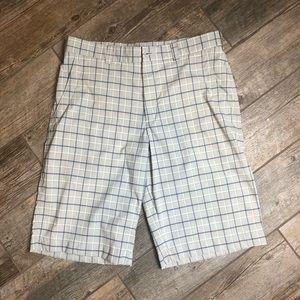 Nike Golf 34 Grey and Blue Plaid Shorts Mens